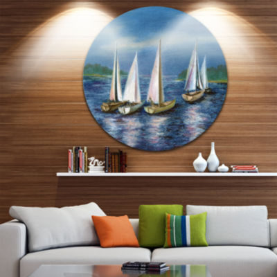 Design Art Yachts by Obsky Sea Disc Seascape Circle Metal Wall Art