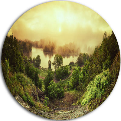 Design Art Vintage Raising Landscape Photography Circle Metal Wall Art