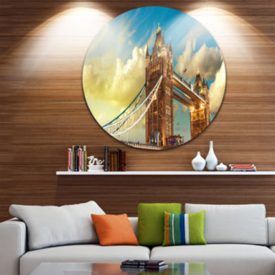 Design Art Tower Bridge London at Sunset Disc Cityscape Photo Circle Metal Wall Art