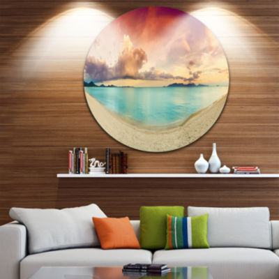 Design Art Tropical Colorful Sunset with Pond DiscLandscape Circle Metal Wall Art