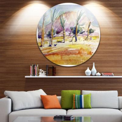Design Art Watercolor Sea and Palm Landscape Circle Metal Wall Art