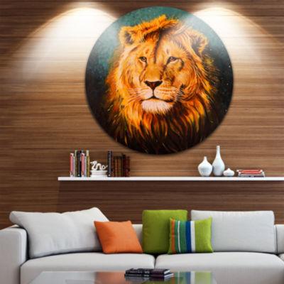 Design Art The Lion of Judah Animal Circle Metal Wall Art