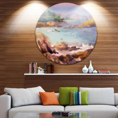 Design Art Tranquil Watercolor Waters Seascape Circle Metal Wall Art