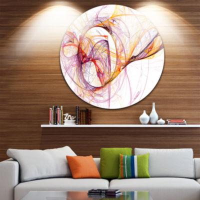 Design Art Wisps of Smoke Orange Purple Abstract Circle Metal Wall Art
