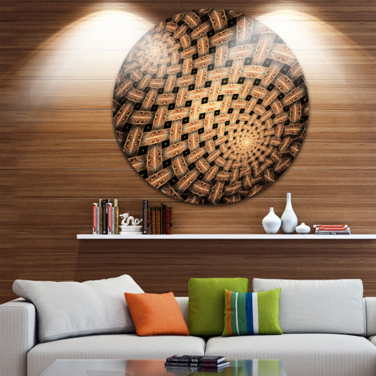 Design Art Symmetrical Brown Fractal Flower Abstract Round Circle Metal Wall Decor Panel