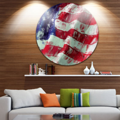 Design Art USA Flag Abstract Art Map & Flag CircleMetal Wall Art