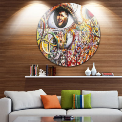 Design Art Street Art in Asilah Village Disc Graffiti Circle Metal Wall Art