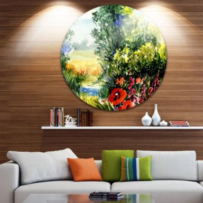 Design Art Watercolor Landscape with Flowers Landscape Circle Metal Wall Art