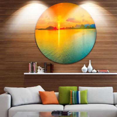 Design Art Sunset Over Sea Panorama Seascape Photography Circle Metal Wall Art