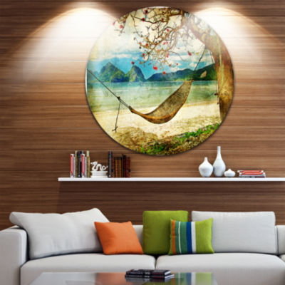 Design Art Tropical Sleeping Swing Disc Contemporary Landscape Circle Metal Wall Art