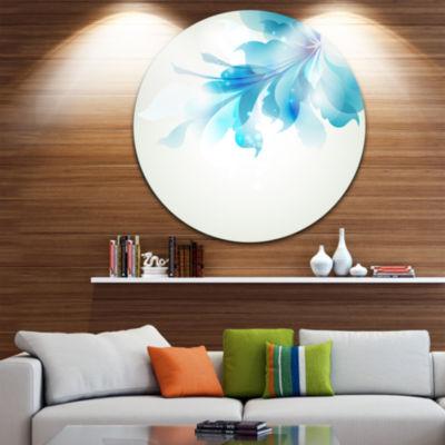 Design Art Tender Blue Abstract Flowers Floral Metal Circle Wall Art