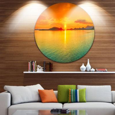 Design Art Sunset Panorama Photography Circle Metal Wall Art