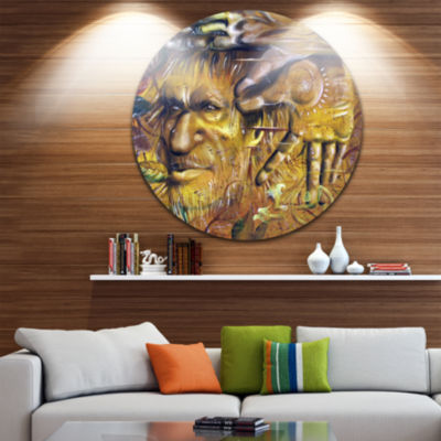 Design Art Sylvan Disc Abstract Portrait Circle Metal Wall Art