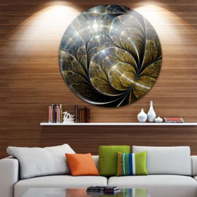 Design Art Symmetrical Gold Fractal Flower with Lighting Disc Floral Circle Metal Wall Art