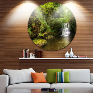 Design Art Water Flowing over Rocks Disc LandscapePhotography Circle Metal Wall Art
