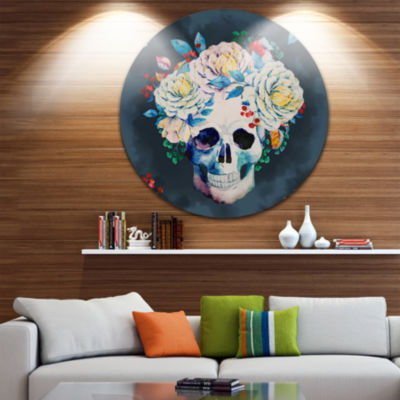 Design Art Watercolor Vector Skull Disc Floral Circle Metal Wall Art
