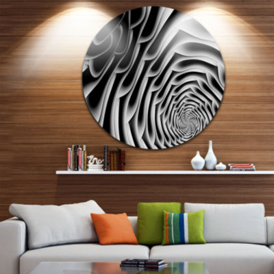 Design Art White Flower Shaped Fractal Art Abstract Round Circle Metal Wall Decor Panel
