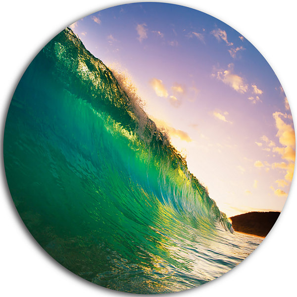 Design Art Waves Kissing Clouds Disc Seascape Circle Metal Wall Art