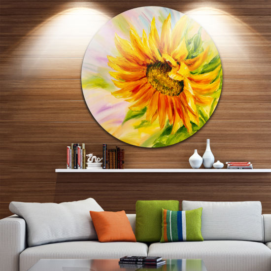 Design Art Sunflower Oil Painting Floral Circle Metal Wall Art