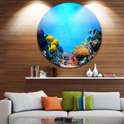Design Art Underwater Scene Disc Seascape Photography Circle Metal Wall Art