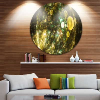 Design Art Yellow Spherical Planet Bubbles Abstract Round Circle Metal Wall Art