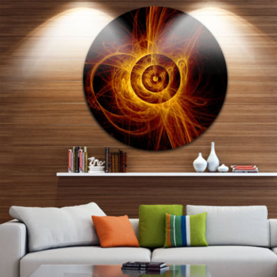 Design Art The Flashing Yellow Flame Disc Large Contemporary Circle Metal Wall Arts