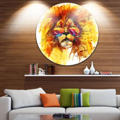 Design Art The King Watching Animal Metal Circle Wall Art