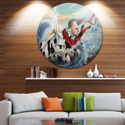 Design Art The Rape of Europe Disc Abstract CircleMetal Wall Art