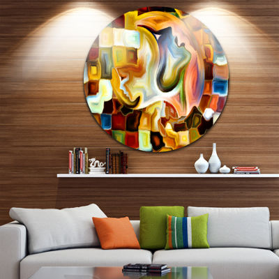 Design Art Way of Inner Paint Abstract Metal Circle Wall Art