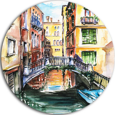 Design Art Venice Canal Meeting Bridge Cityscape Metal Circle Wall Art
