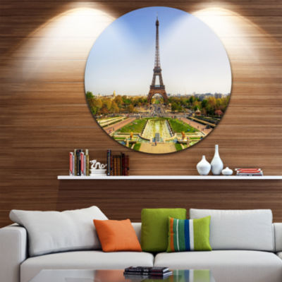 Design Art Wide View of Paris Eiffel Tower Disc Landscape Photography Circle Metal Wall Art
