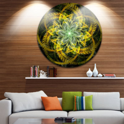 Design Art Yellow and Green Fractal Flower Abstract Round Circle Metal Wall Decor