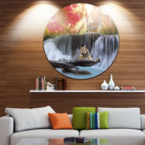Design Art Tiger in the Jungle Disc Photography Circle Metal Wall Art