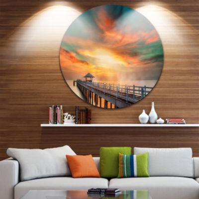Design Art Wooden Pier Landscape Photo Circle Metal Wall Art