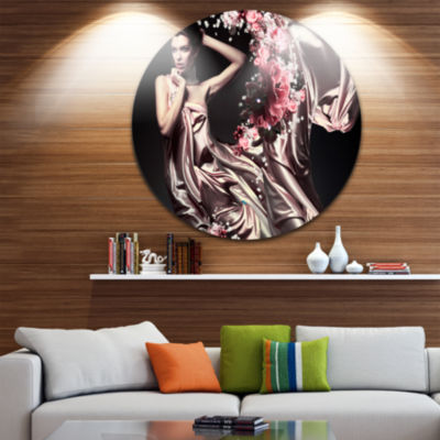 Design Art Woman in Fabric and Flowers Disc Portrait Circle Metal Wall Art