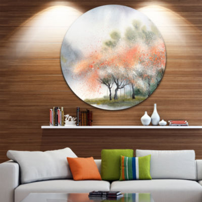 Design Art Trees with Flowers Near River LandscapeCircle Metal Wall Art