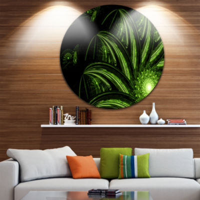 Design Art Strange Green Flower Disc Floral CircleMetal Wall Art