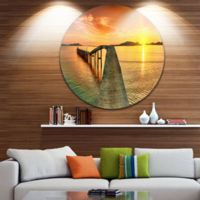 Design Art Sunset over Pier Panorama Photography Circle Metal Wall Art