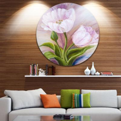 Design Art White Tulips Floral Circle Metal Wall Art
