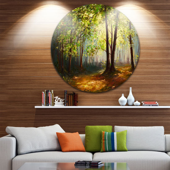 Design Art Summer Forest Landscape Metal Circle Wall Art