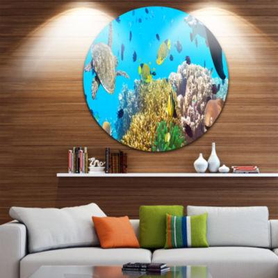Design Art Underwater Panorama with Sea CreaturesPhotography Circle Metal Wall Art