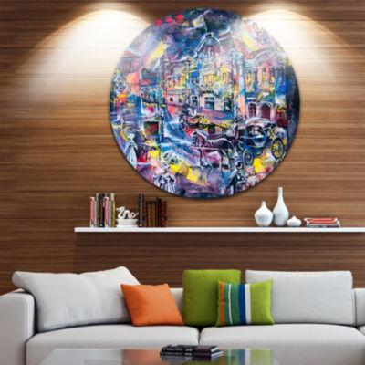Design Art Surreal City in Graphics Abstract Circle Metal Wall Art