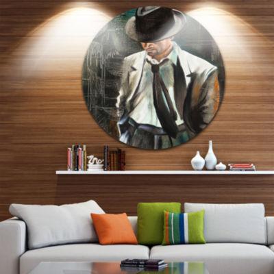 Design Art The Gentleman Portrait Circle Metal Wall Art