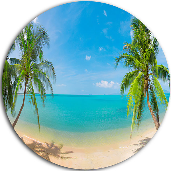 Design Art Tropical Beach with Coconut Trees DiscLandscape Photography Circle Metal Wall Art