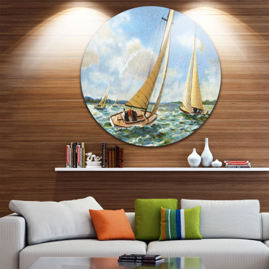 Design Art Vintage Boats Sailing Disc Seascape Painting Circle Metal Wall Art