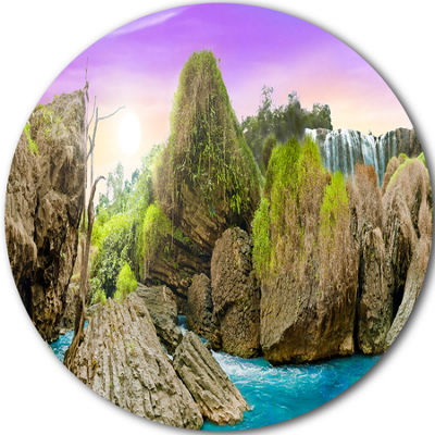 Design Art Wild Forest and Waterfall Vietnam DiscLandscape Circle Metal Wall Art