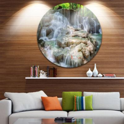 Design Art White Huay Mae Kamin Waterfall Disc Landscape Photography Circle Metal Wall Art