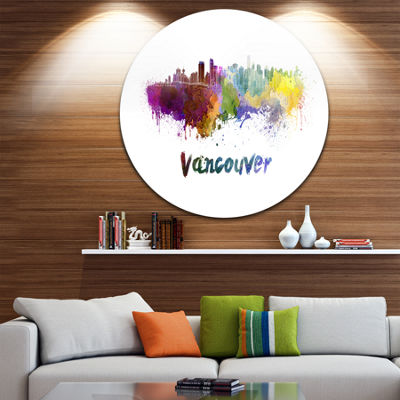 Design Art Vancouver Skyline Disc Cityscape CircleMetal Wall Art