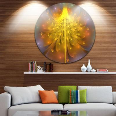 Design Art Yellow Fractal Flower with Pink FloralCircle Metal Wall Art