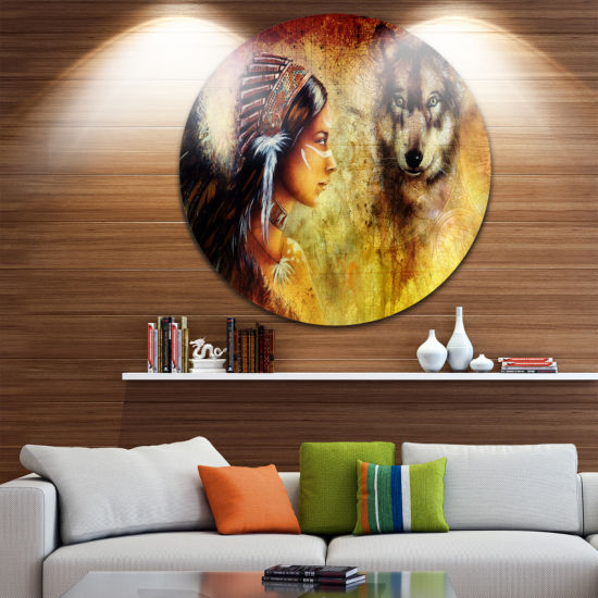 Design Art Woman with Wolf Portrait Circle Metal Wall Art